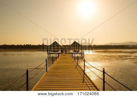 Pontoon bridge in the sea in Egypt