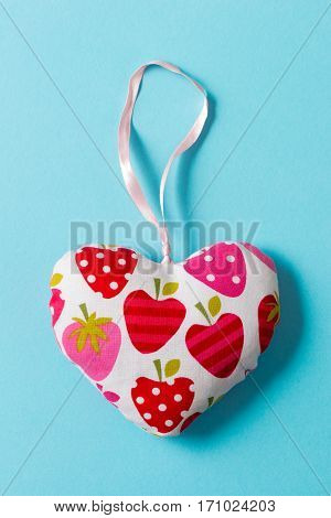 Stuffed Heart-shaped Decoration With Strawberries Design