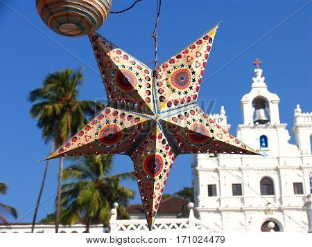 Holiday Star On Background Of A Church, Panaji, Goa