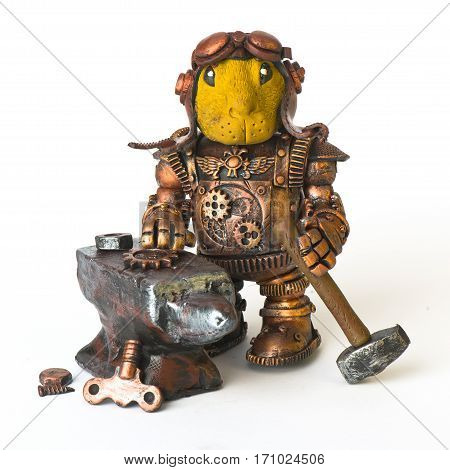 Steampunk robot. Easter Rabbit egg tool. Cyberpunk style. Chrome and bronze parts. Isolated on white. blacksmith anvil gear