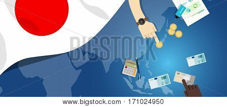 Japan economy fiscal money trade concept illustration of financial banking budget with flag map and currency vector