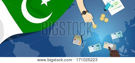 Pakistan economy fiscal money trade concept illustration of financial banking budget with flag map and currency vector