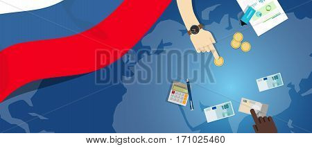 Russia economy fiscal money trade concept illustration of financial banking budget with flag map and currency vector