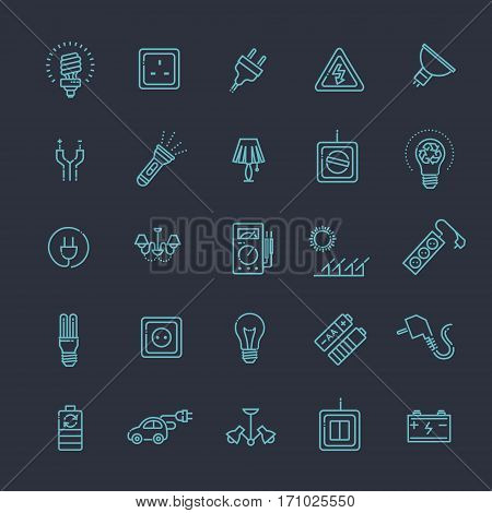 Electric accessories icons. Electricity, power and energy
