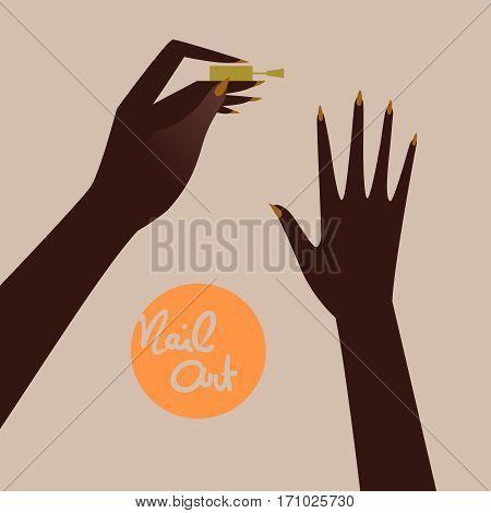 Woman making manicure applying nail polish. Beautiful woman hand. Vector illustration eps 10