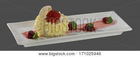 dessert ice cream mint cherries strawberries cake decoration cream vanilla white chocolate milk sugar sweet temptation summer cold diet weight loss dish isolated gray background