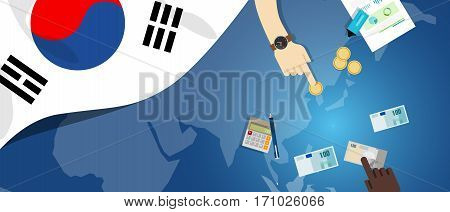South Korea economy fiscal money trade concept illustration of financial banking budget with flag map and currency vector