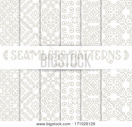Set of seamless vintage wallpapers with swirls. Neutral color patterns collection. EPS10 vector illustration.