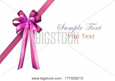 Beautiful red and pink bow on white background