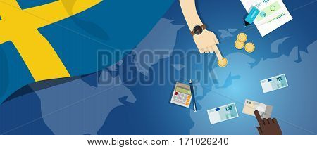 Sweden economy fiscal money trade concept illustration of financial banking budget with flag map and currency vector