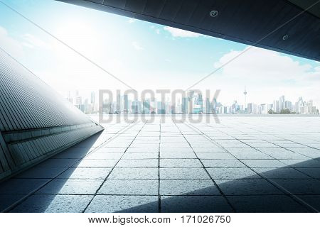 Geometry design roof top balcony with cityscape background