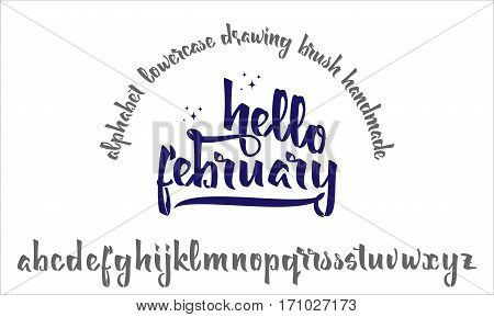 Font drawn on the basis of handwriting calligraphy, modern cursive script brush. Hello february.