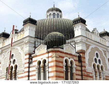 Sofia synagogue on a background of blue sky, Bulgaria