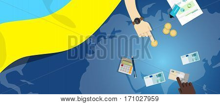 Ukraine economy fiscal money trade concept illustration of financial banking budget with flag map and currency vector