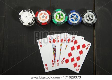 Casino poker design template. Falling poker cards and chips game concept. Casino lucky background