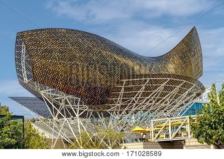 Barcelona Spain - September 04 2011: Frank Gehry's Peix d'Or - Whale Sculpture on the beach of Barcelona