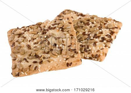 crispy bread with seeds of sunflower, flax and sesame seeds Isolated on white background.