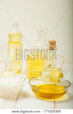 Massage oil and zen stones. Shallow DOF