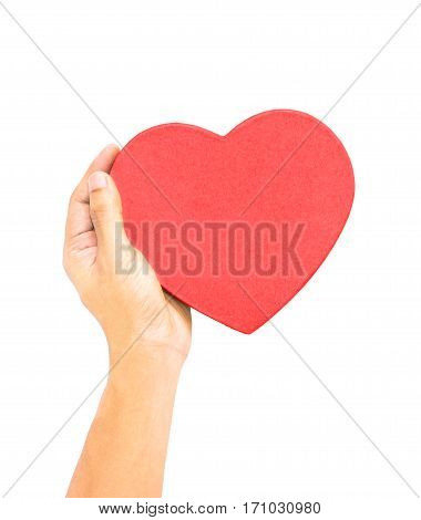 One hand holding red heart shaped box lid love care healthcare medical care heart disease protection metaphor concept isolation on white with clipping path