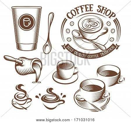 Isolated brown color cup in retro style logos set on white background, logotypes collection for coffee shop vector illustration