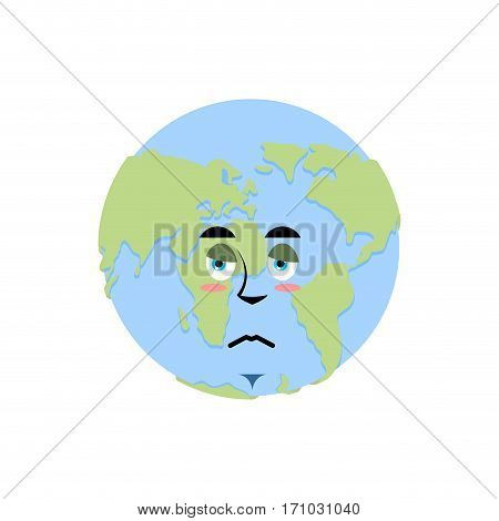 Earth Sad Emoji. Planet Unhappy Emotion Isolated