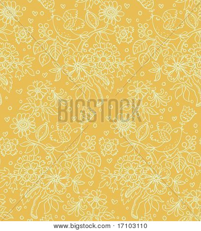Retro floral seamless pattern in yellow