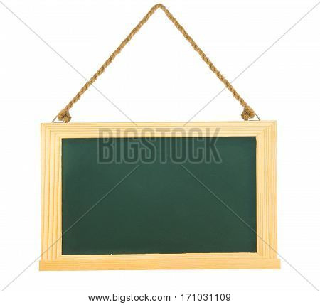 Black green chalk board with clean wooden frame and hanging rope isolated on white with clipping path