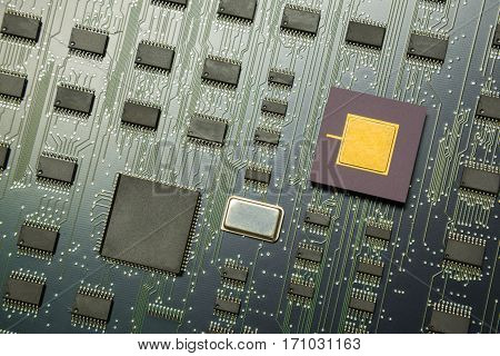 Top view of electronic board with cpu processor and electronic chips technology concept background