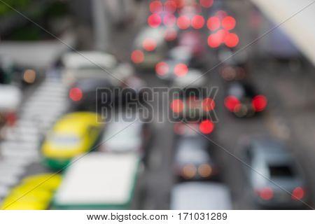 Blurred or Defocus image of traffic jams in the city road rush hour.