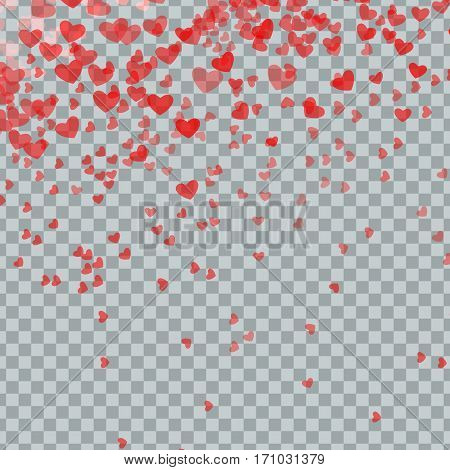 Heart confetti of Valentines petals falling on transparent background. Flower petal in shape of heart confetti.