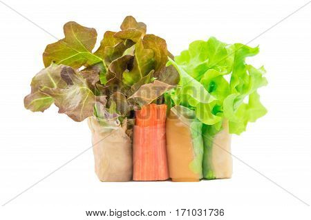 Salad roll red oak and green oak isolation on white with clipping path