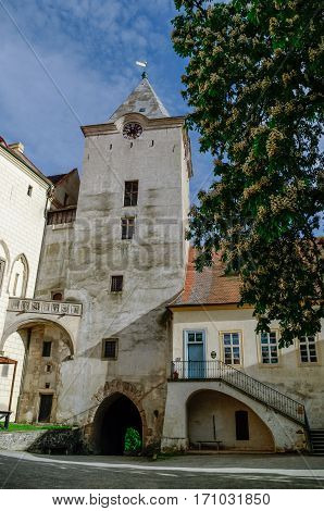 Courtyard Of Medieval Royal Gothic Castle Krivoklat, Central Bohemia, Czech Republic