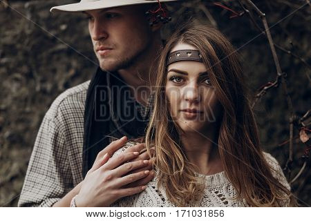 Beautiful Brunette Gypsy Girl, Hipster Woman In Boho White Sweater Holding Hands With Handsome Man I