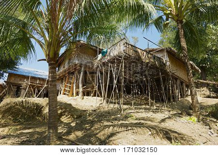 BANDARBAN, BANGLADESH - FEBRUARY 20, 2014: Traditional Marma hill tribe building exterior in Bandarban, Bangladesh.