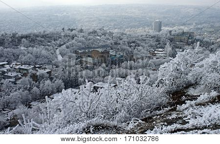 View on Pyatigorsk city in winter day,Northern Caucasus,Russia.
