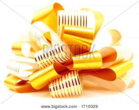 Holiday Season Ribbon Bow Gift Decoration In Yellow