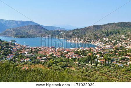 landscape of Vathy Ithaca Ionian islands Greece