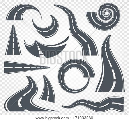 Isolated grey color winding curved road or highway with dividing markings on white background vector illustrations set