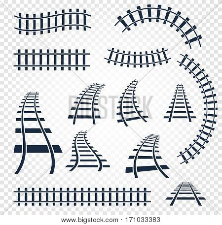 Isolated curvy and straight rails set, railway top view collection, ladder elements vector illustrations on white background