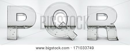 Transparent glass water letters 3d rendering, P, Q, R, path save