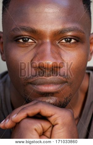 Close Up Face Of Young African Man
