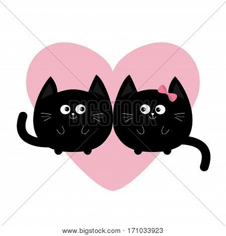 Round shape black cat icon. Love family couple. Pink heart Cute funny cartoon smiling character. Kawaii animal. Happy emotion. Kitty kitten Baby pet collection. White background. Isolated. Flat Vector