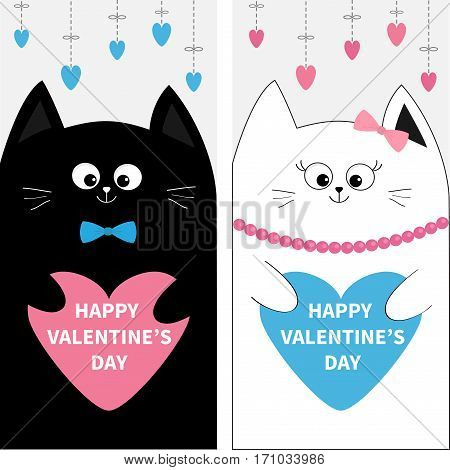 Cat family couple holding blue pink heart shape paper. Flyer poster set. Cute funny cartoon character. Hanging dash line. Happy Valentines day. Greeting card. Flat design. White background. Vector