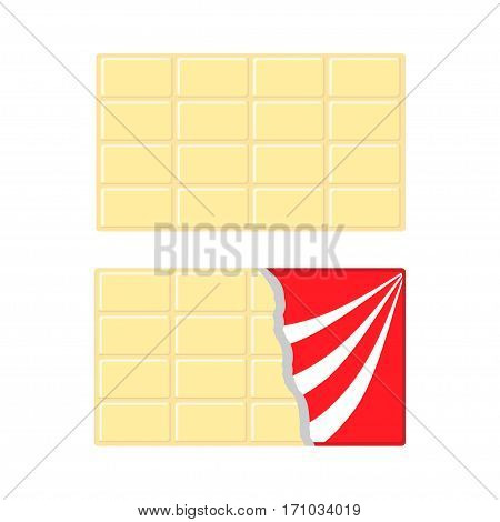 White chocolate bar icon set. Opened red wrapping paper foil. Tasty sweet dessert food. Rectangle shape Horizontal piece. Modern simple style. Flat design background. Isolated. Vector illustration
