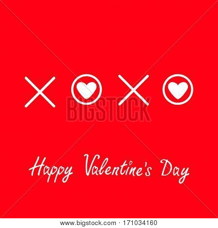 Xoxo Hugs and kisses Sign symbol mark Love White heart Word text lettering. Happy Valentines day. Greeting card. Flat design Red background Isolated. Vector illustration