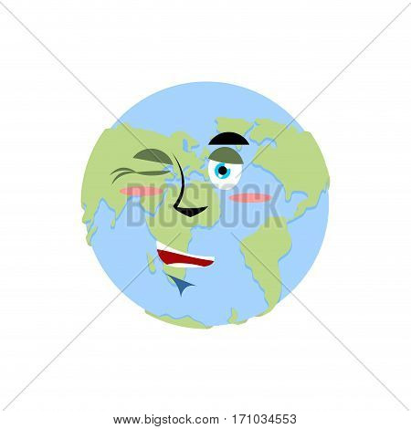 Earth Winking Emoji. Planet Merry Emotion Isolated