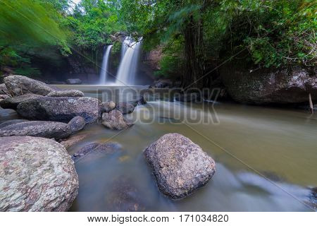 Amazing Beautiful Waterfalls In Tropical Forest At Thailand