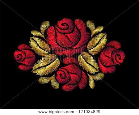 Embroidery crewel flower patch traditional ornament decoration red roses leaves blueberry rich glowing golden gold design vector illustration vintage retro style design