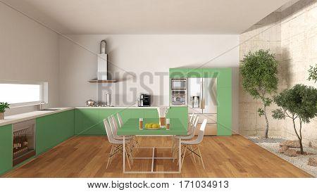 White And Green Kitchen With Inner Garden, Minimal Interior Design