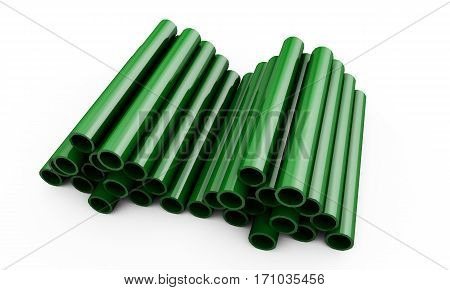 3d rendered green pipes isolated on white background